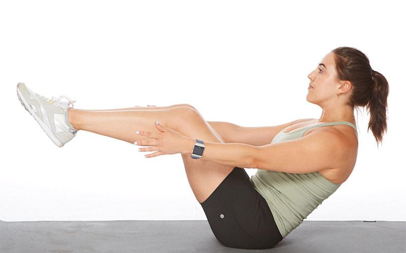 Legs Upright arm crunch