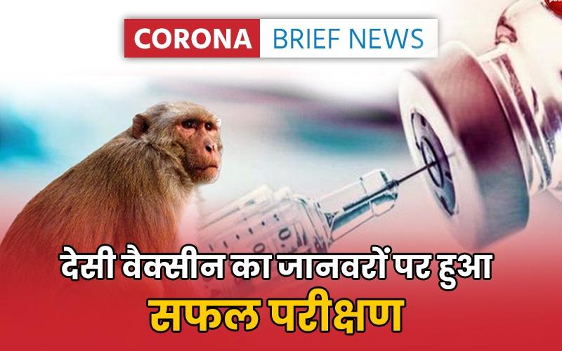 Corona Brief News: कोरोना की स्वदेशी वैक्सीन का जानवरों पर हुआ सफल परीक्षण